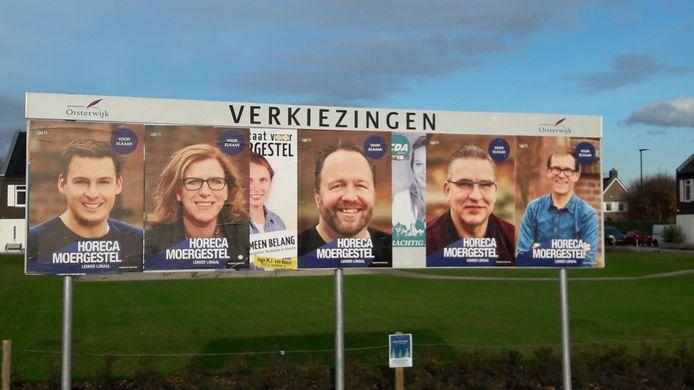 Verkiezingsstunt van Moergestelse kasteleins (vlnr) Wout Huijben (Bij Wout) Harriette Rijnen ('t Draaiboompje) Marc Rijnen (Veerkes) Jan-Hein de Brouwer (De Brouwer) en Corné Zoontjens (Root)