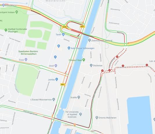 Verkeersinfarct in Vlissingen rond 17.30 uur.