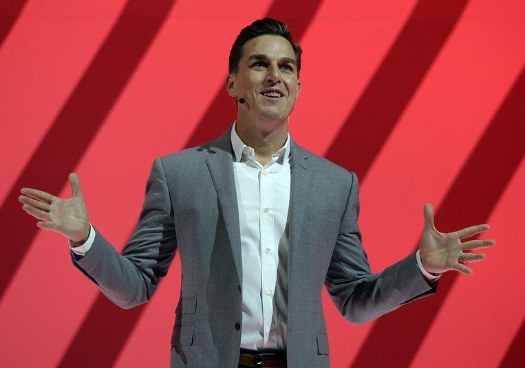 Wilson tijdens zijn keynotespeech op Electronic Arts' 'EA Play'-evenement. Beeld AFP