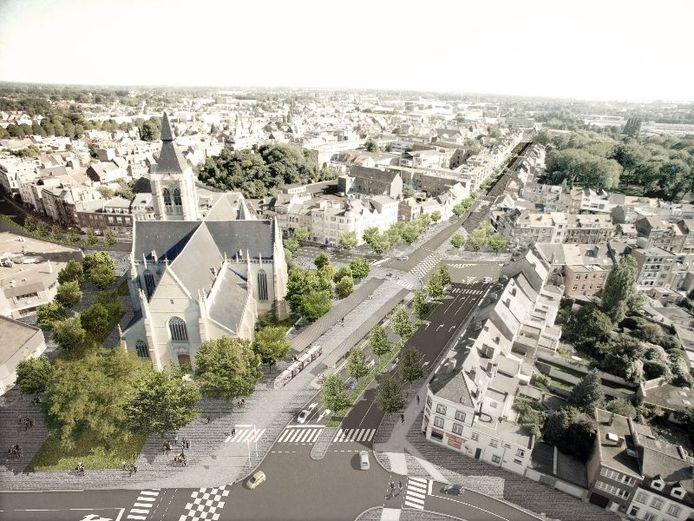 Illustratie: Heldenplein en Stationlei na de herinrichtingswerken.