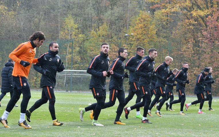 De spelers van Shakhtar gisteren op training.