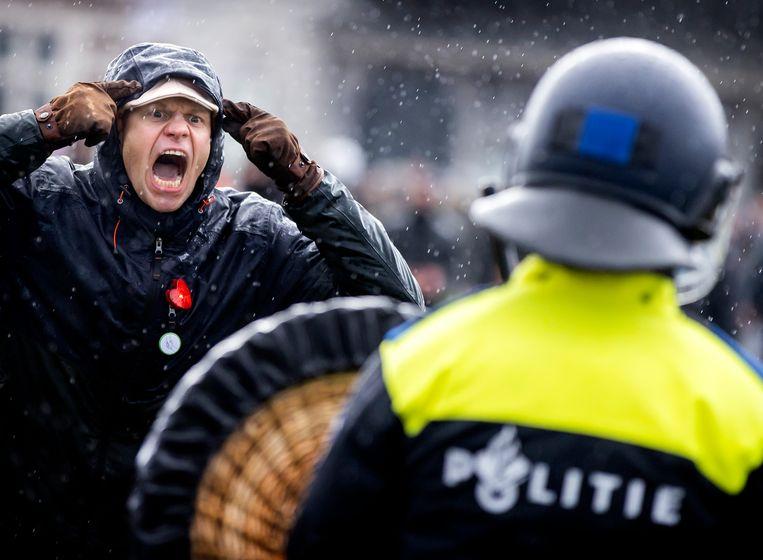 Demonstratie tegen de coronamaatregelen, afgelopen zondag op het Museumplein. Beeld Hollandse Hoogte /  ANP