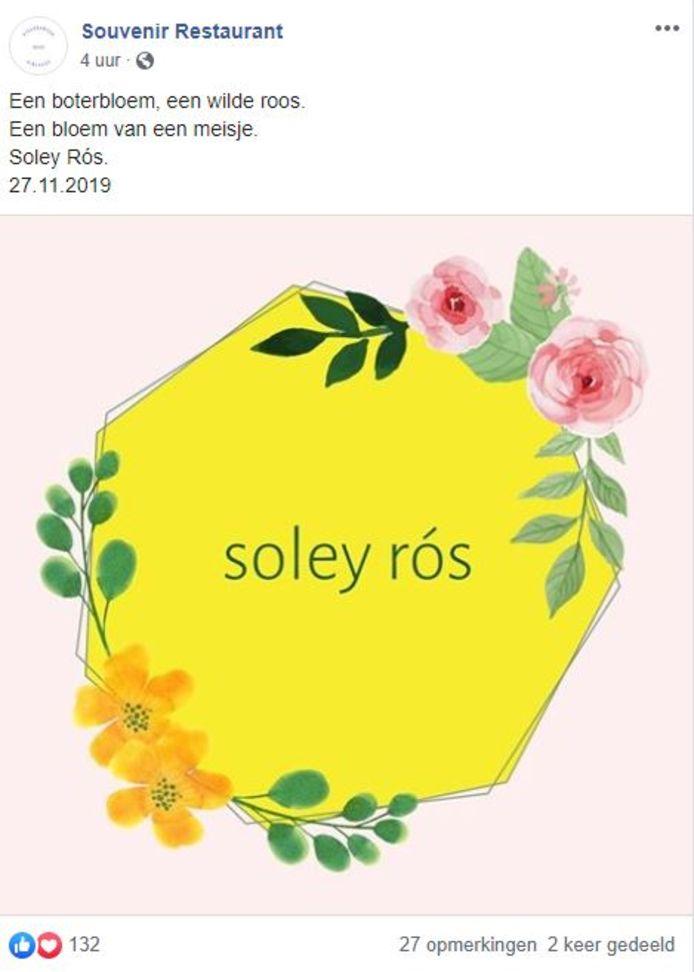 Aankondiging geboorte Soley Rós op facebookpagina Souvenir.