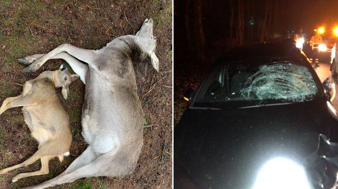 De twee verkeersslachtoffers en een beschadigde auto.