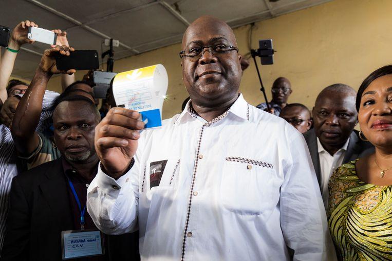 Opposant Felix Tshisekedi, de leider van de partij UDPS. Beeld EPA