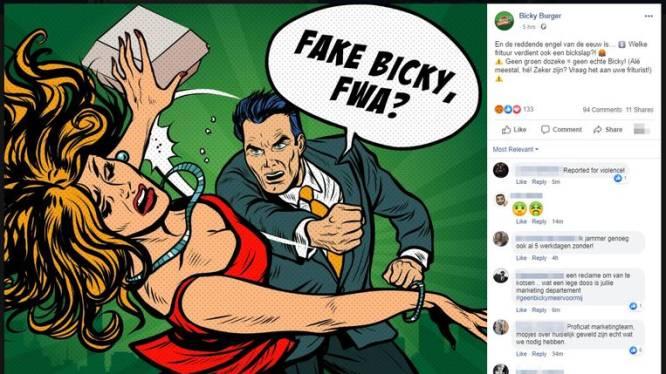 """Het blijft klachten regenen over """"wansmakelijke"""" reclame Bicky Burger: bedrijf biedt excuses aan"""