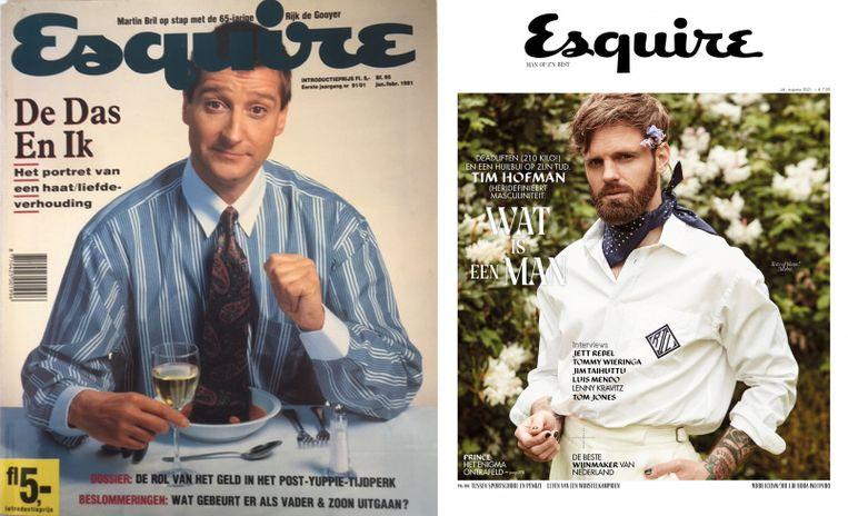 De eerste (1990) en de laatste editie (2021) van Esquire.  Beeld