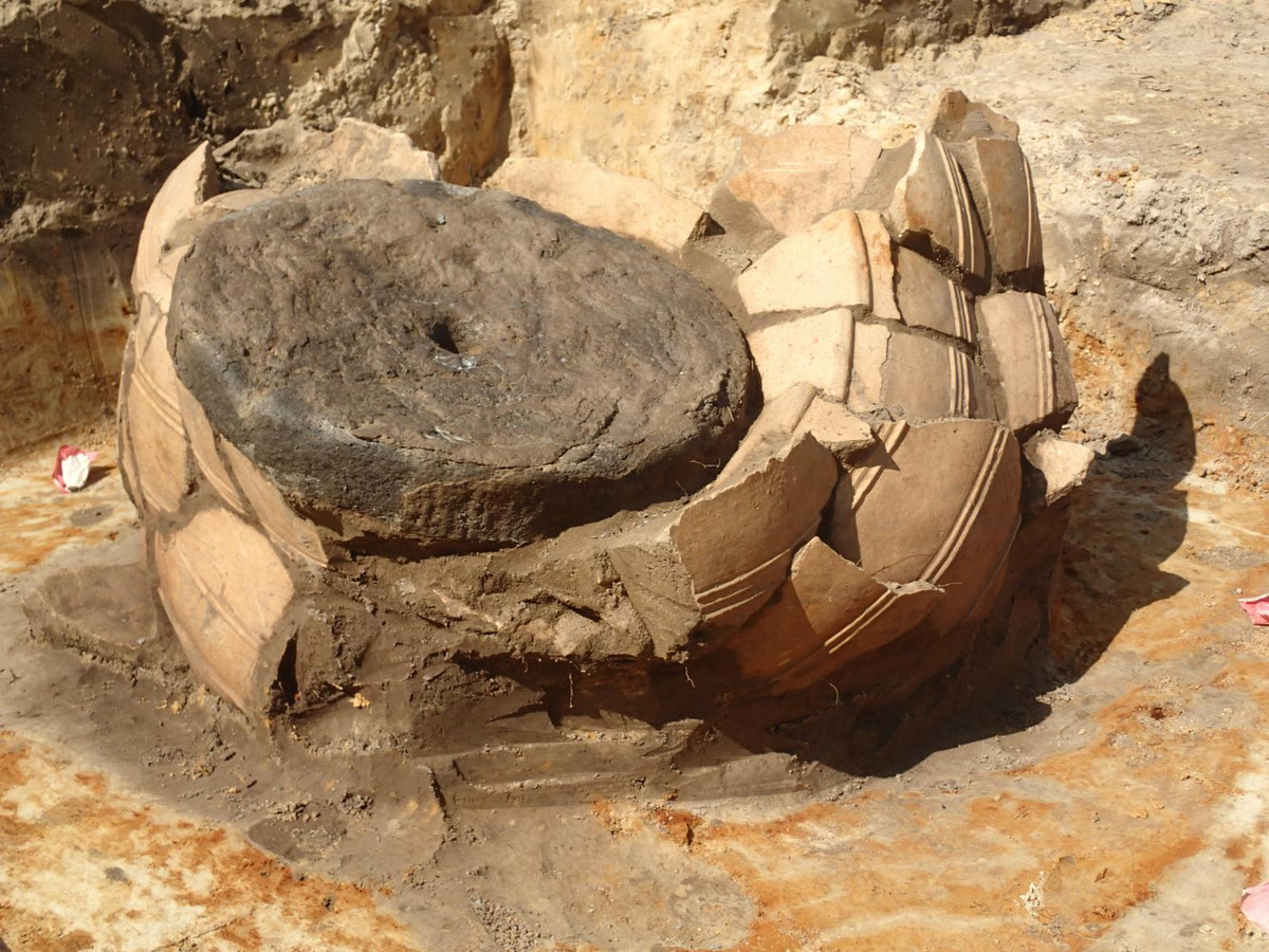 Deze enorme voorraadpot was afgedekt met een molensteen en neergezakt in een vossenburcht.