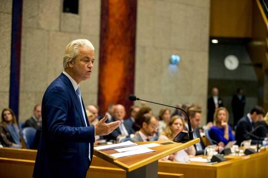 Geert Wilders (PVV) is in de Tweede Kamer aan het woord tijdens de Algemene Politieke Beschouwingen.