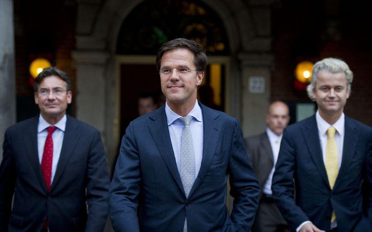 Geert Wilders met Mark Rutte en Maxime Verhagen in 2010 nadat ze een akkoord hebben gesloten over de gedoogcoalitie. Beeld ANP