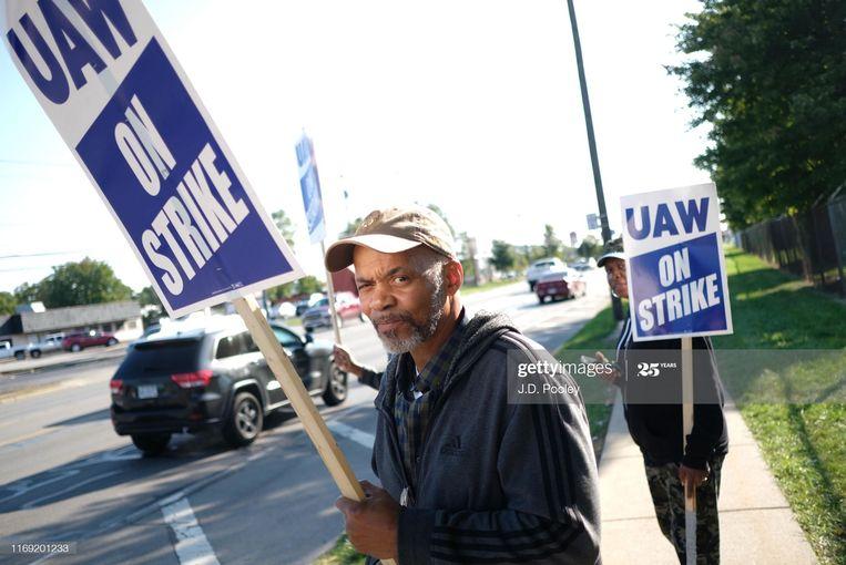 Richard Bell, 43 jaar in dienst bij General Motors, tijdens een protestactie van de UAW (United Auto Workers) in Toledo, Ohio, 2019. Beeld Getty Images