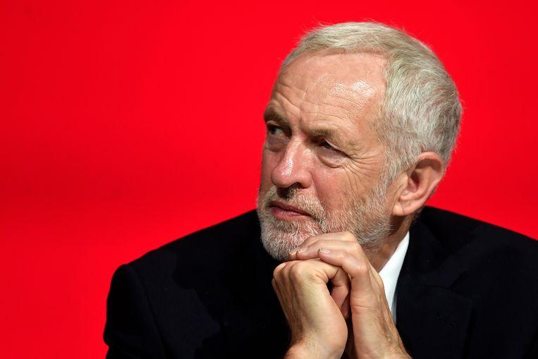 De leider van de Britse Labourpartij, Jeremy Corbyn, tijdens het partijcongres in Liverpool. Beeld EPA