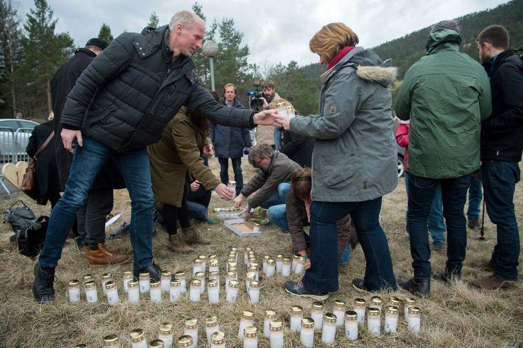 Een herdenking voor de slachtoffers van de crash in Vernet, Frankrijk op 24 maart 2017. Beeld AFP