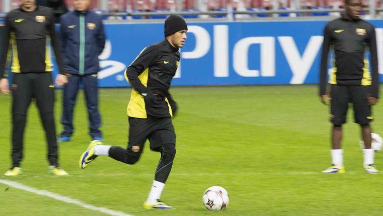 Barcelona-speler Neymar gisteren in de Arena. Beeld reuters