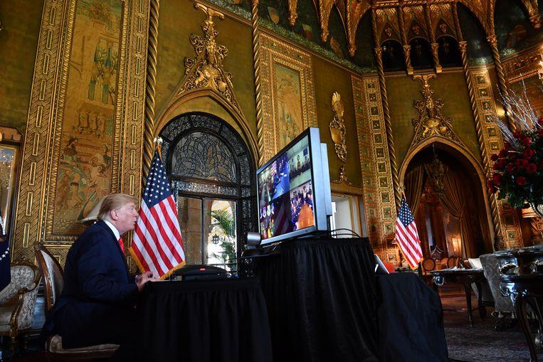 President Donald Trump in Mar-a-Lago, zijn verblijf in Palm Beach Florida.  Beeld AFP