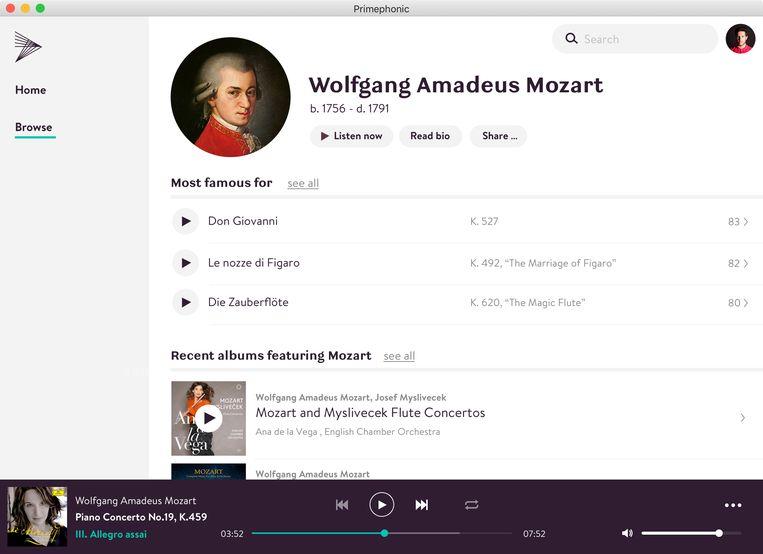 Bij de nieuwe streamingdienst is Mozart een stuk makkelijker te vinden. Beeld -