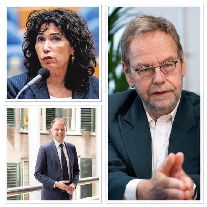 Met de klok mee: Nevin Özütok (GroenLinks), gedeputeerde Wil van Pinxteren en Harry van der Molen (CDA).