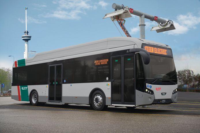 Een illustratie van hoe de elektrische bussen eruit zullen zien.