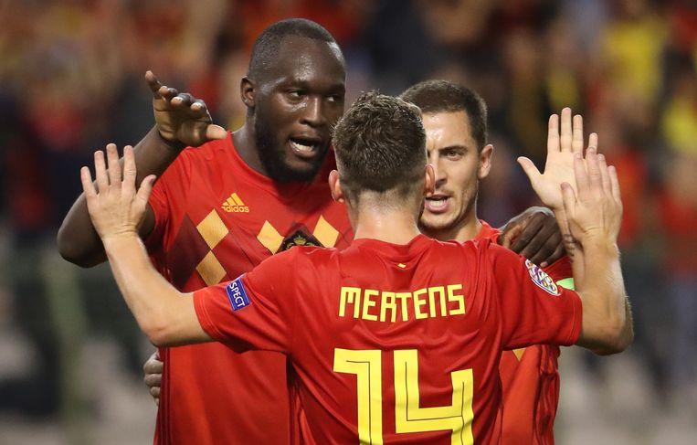 Gaan Romelu Lukaku, Dries Mertens en Eden Hazard een gouden avond tegemoet? Beeld BELGA