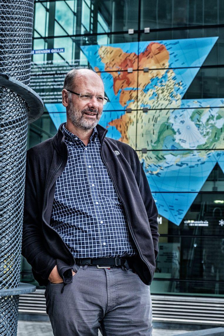 Klimatoloog Philippe Huybrechts: 'De klimaatsceptici hebben gigantische schade aangericht. Gelukkig zijn ze in Europa een uitstervend ras.' Beeld Tim Dirven