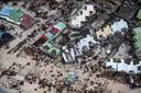 Overzichtsfoto van de ravage na de orkaan.