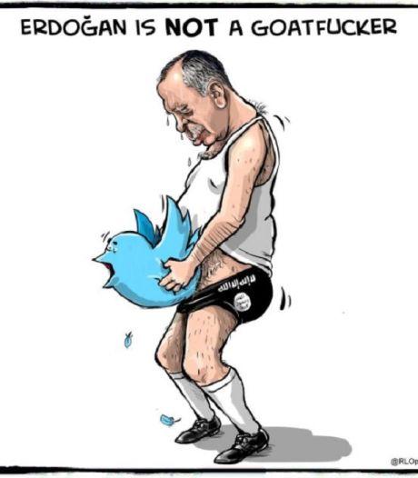 Erdogan opent jacht op (Nederlandse) Twitteraars die spotprents posten