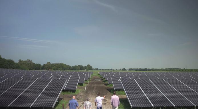 Een bezoekje van leden van Ellecom Energieneutraal aan een zonnepark in Wierden.