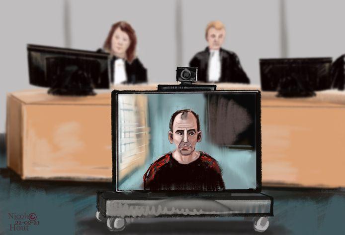 Floris N. maakte de rechtszaak mee via een videoverbinding vanuit de extra beveiligde gevangenis in Vught, waar hij op de terroristenafdeling in voorlopige hechtenis zit.
