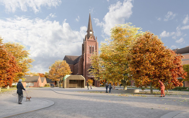 De beoogde blikvanger op het nieuwe Mgr. Bekkersplein in Haaren: een kiosk of paviljoen geïnspireerd op de Haarense langgevelboerderijen.