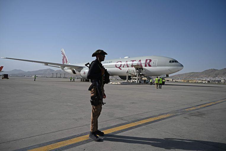 Het vliegveld in Kabul. Beeld AFP
