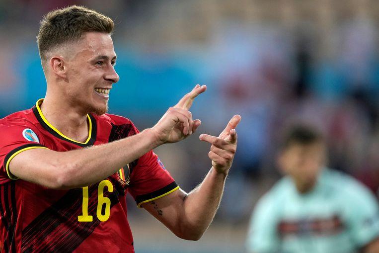Thorgan Hazard viert zijn winnende treffer tegen de Portugezen. Beeld EPA