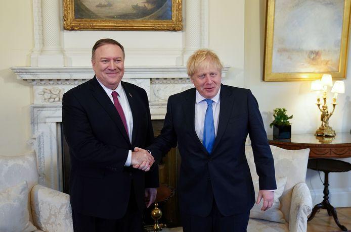 Le secrétaire d'État américain (ministre des Affaires étrangères) Mike Pompeo et le Premier ministre britannique Boris Johnson