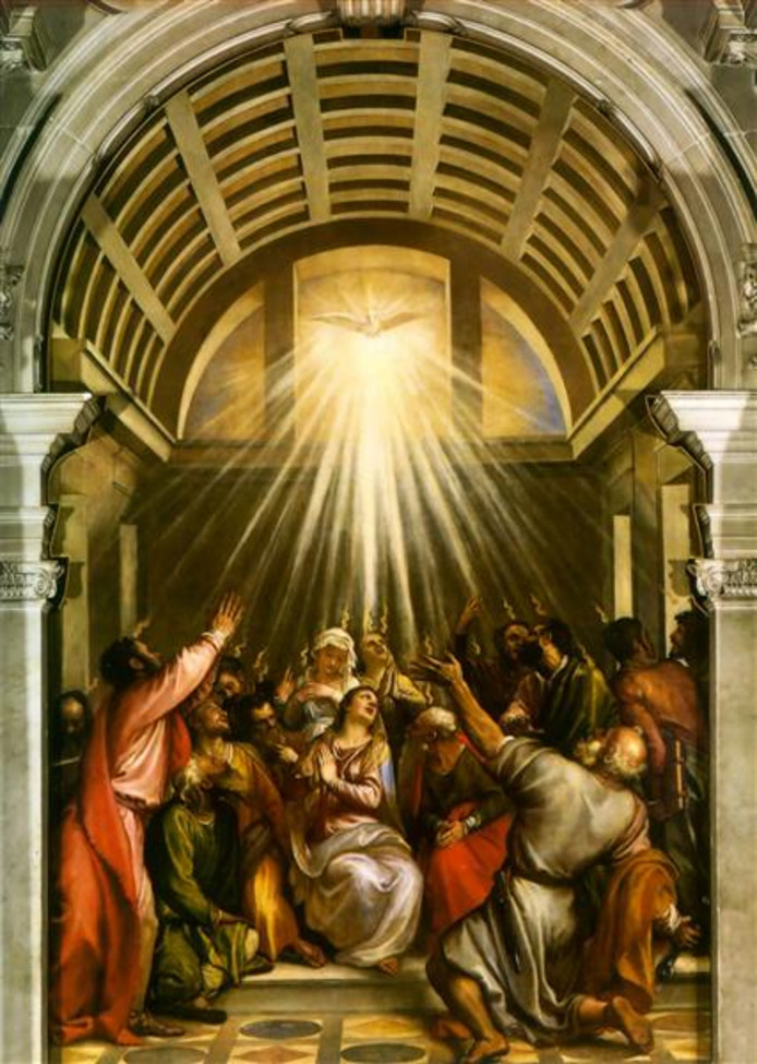Omstreeks 1545 schildert Titiaan in een kerk De Afdaling van de Heilige Geest, die als een witte duif verschijnt boven de mensen die door God weer in genade zijn aangenomen.