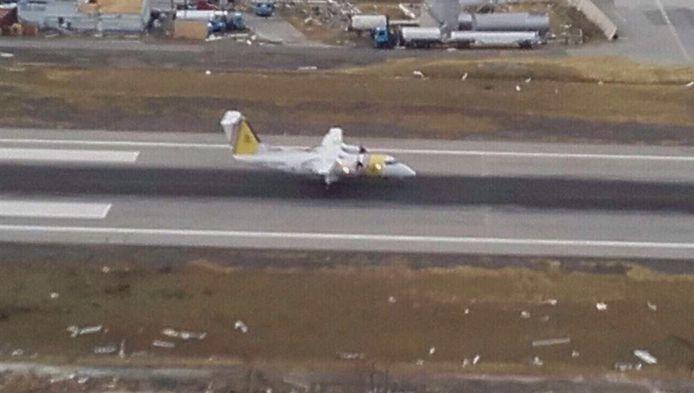 Het vliegtuigje van de kustwacht van Curaçao is zelfstandig geland. De verkeerstoren is ook kapot na de doortocht van orkaan Irma.