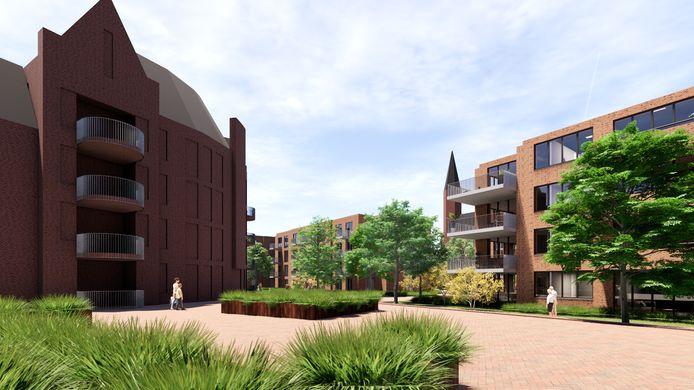Een doorkijkje op de nieuwbouw in de kloostertuin richting de Lambertuskerk.
