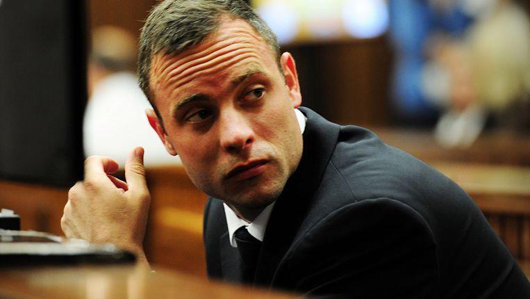 Oscar Pistorius in de rechtzaal. Beeld EPA