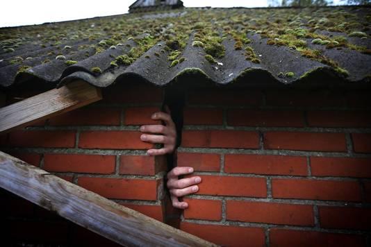 Schade in Bedum, een dorp in de buurt van de stad Groningen