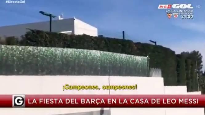 """Barça-selectie leeft zich uit op barbecue ten huize Messi: """"Campeones, campeones"""""""