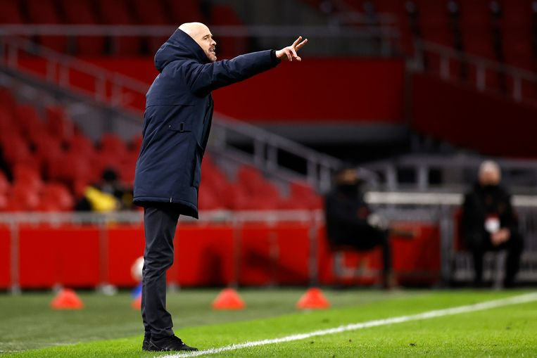Ajaxtrainer Erik ten Hag wacht nog een pittige klus de komende weken. Beeld Hollandse Hoogte /  ANP