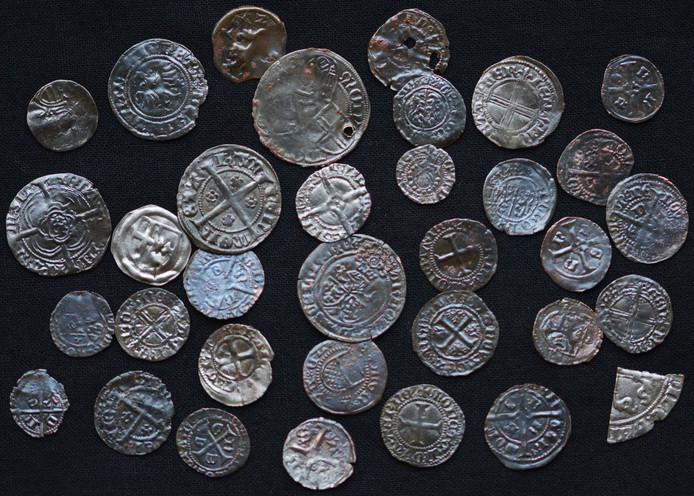 De gevonden munten in Zutphen.