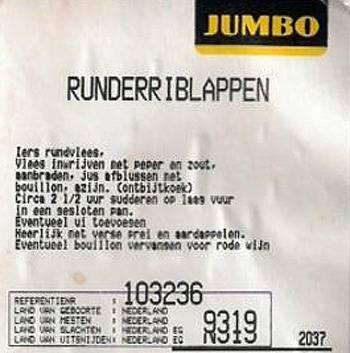 Het etiket van het 'Ierse' rundvlees bij Jumbo.