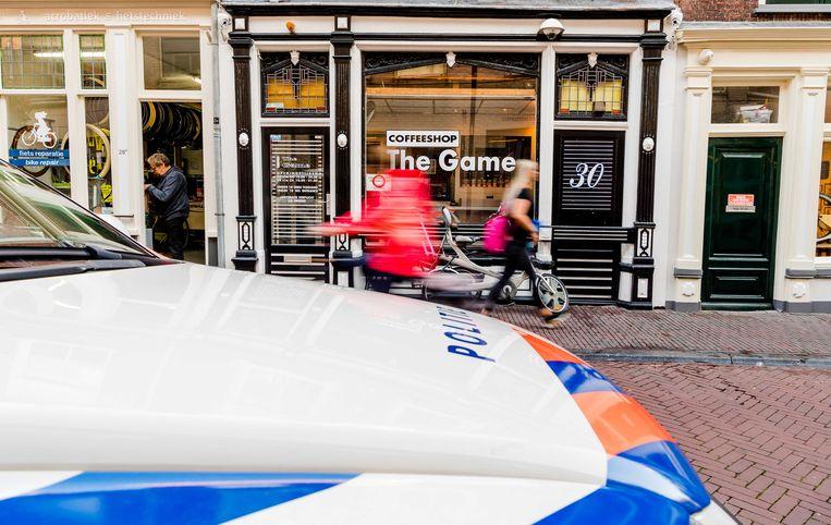 Coffeeshop The Game aan de Breestraat in Delft, die eerder het doelwit was van een aanslag. Beeld ANP