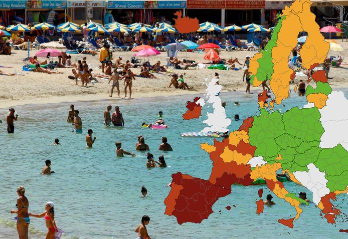 En France, la Normandie et les Pays de la Loire, deux régions touristiques, sont passées de l'orange au rouge, tout comme le Grand Est. La Toscane et les Marches, en Italie, ainsi que la Grèce-Centrale ont toutes trois viré au rouge.
