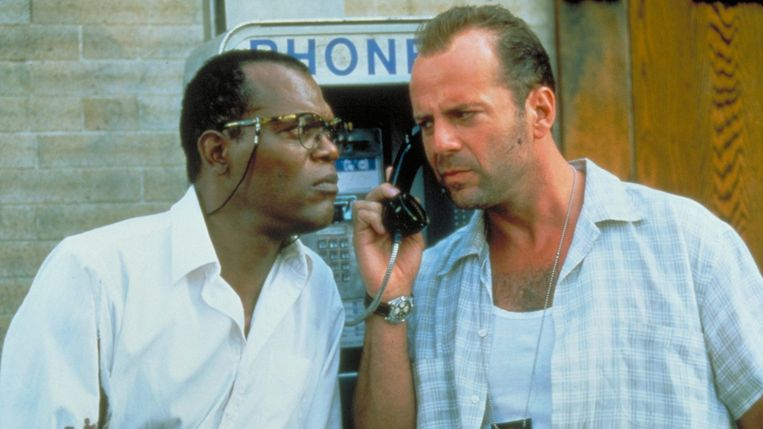 Samuel L. Jackson en Bruce Willis in Die Hard With a Vengeance van John McTiernan Beeld