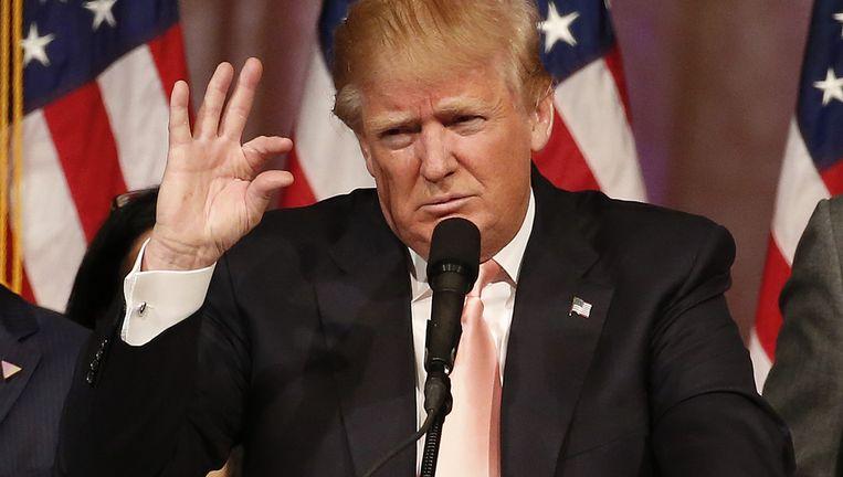 Donald Trump beklaagt zich na zijn overwinningen dinsdag over de harde aanvalsvideo's die tegen hem waren gericht. Beeld AFP