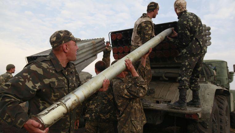 Beide opponenten in de burgeroorlog beschikken over Grad-raketten. Beeld AP