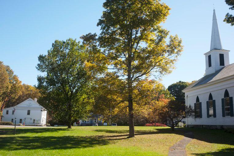 Leverett, Massachusetts. Links het stadhuis, rechts de bibliotheek en de kerk. Beeld Ellen Kok