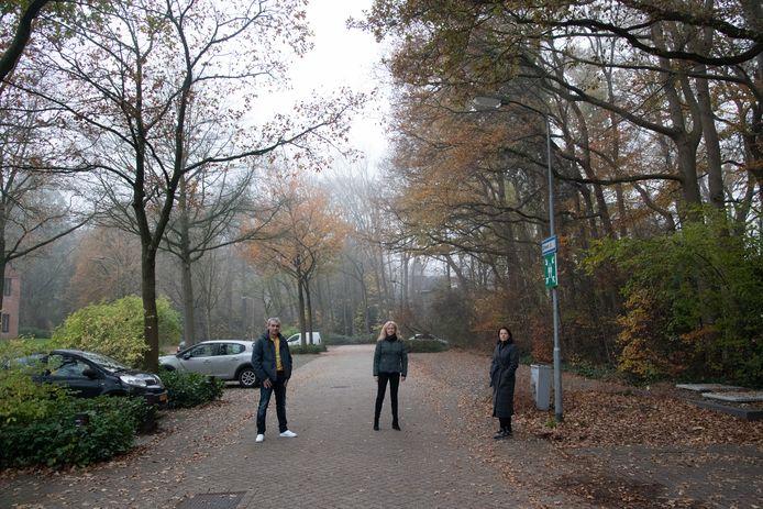Aan de Chevallierlaan in Ermelo komt mogelijk een drie verdiepingen tellende parkeergarage, waarvoor de bomen (rechts op de foto) moeten wijken. Buurtbewoners zijn niet blij mee, dus zijn ze een petitie gestart.  Raymond Voskes, Dorothee Rood en Christel Drees.