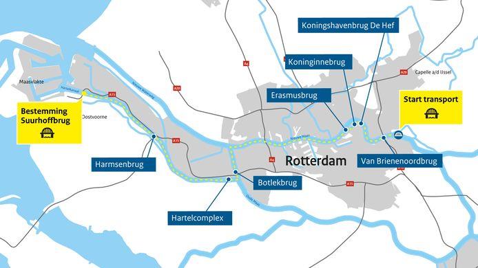 De route die de nieuwe Suurhoffbrug aflegt.