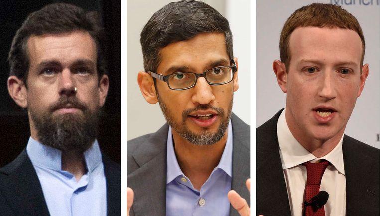 Twitter CEO Jack Dorsey, Google CEO Sundar Pichai, en Facebook CEO Mark Zuckerberg.  Beeld AP